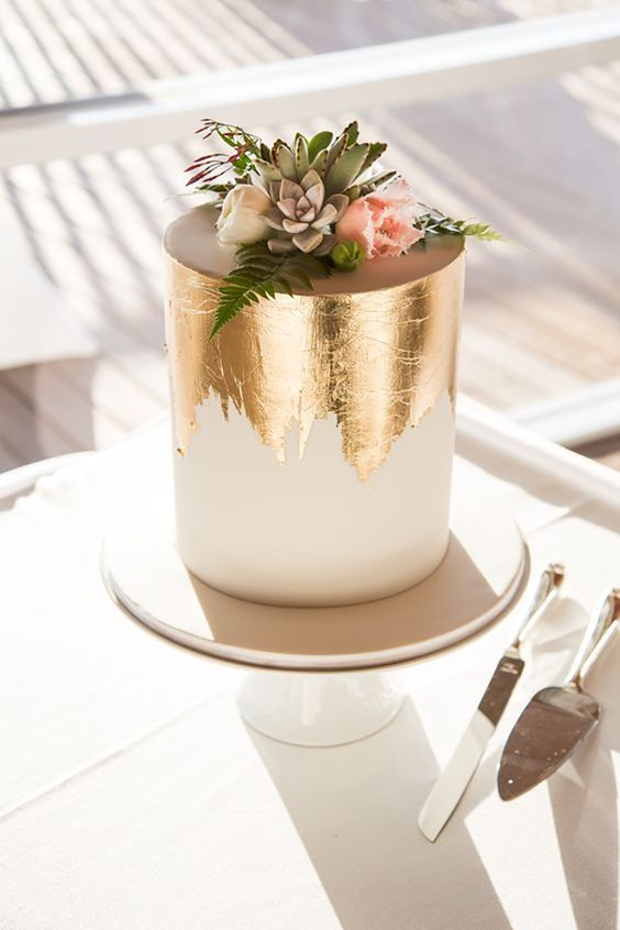 tarta de boda metalizada